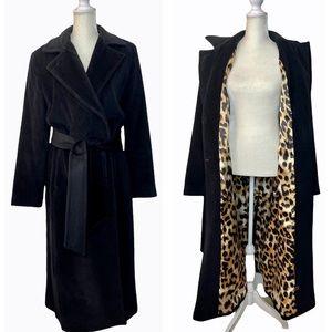 Dana Buchman Angora Wool Black Trench Coat